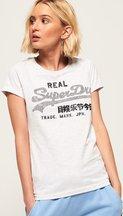 T-shirt Grigio Chiaro donna T-shirt Rhinestone con logo Vintage