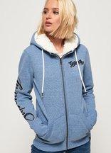 Felpa Blu donna Felpa con cappuccio, zip e applicazione Aria