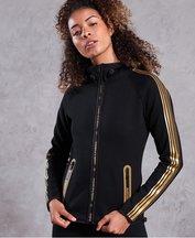 Felpa Nero donna Felpa con cappuccio e zip Gym Tech Gold