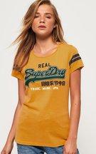 T-shirt Giallo donna T-shirt Applique Mock con logo Vintage