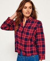 Camicia Rosso donna Camicia corta con motivo scozzese