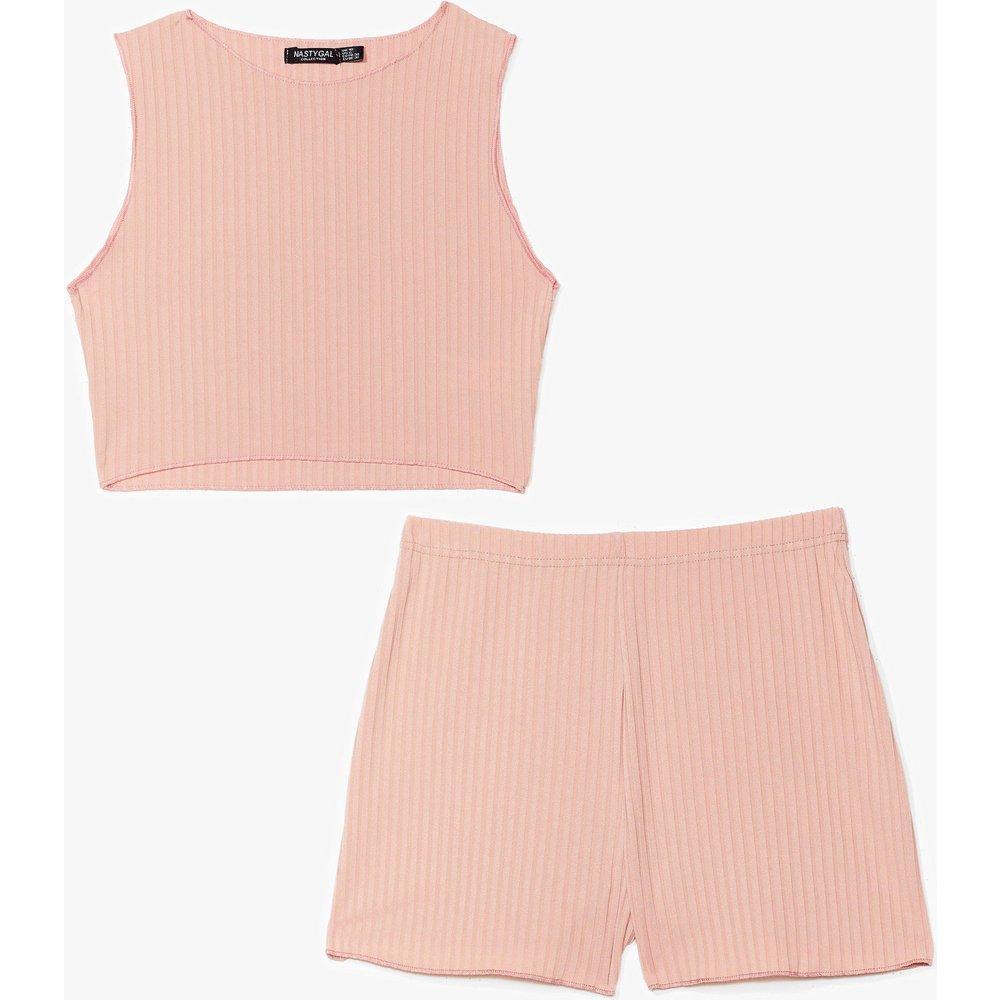 Womens Pyjama Crop Top & Short Côtelé J'Aime T'Avoir À Mes Côtelé - Nasty Gal - Modalova