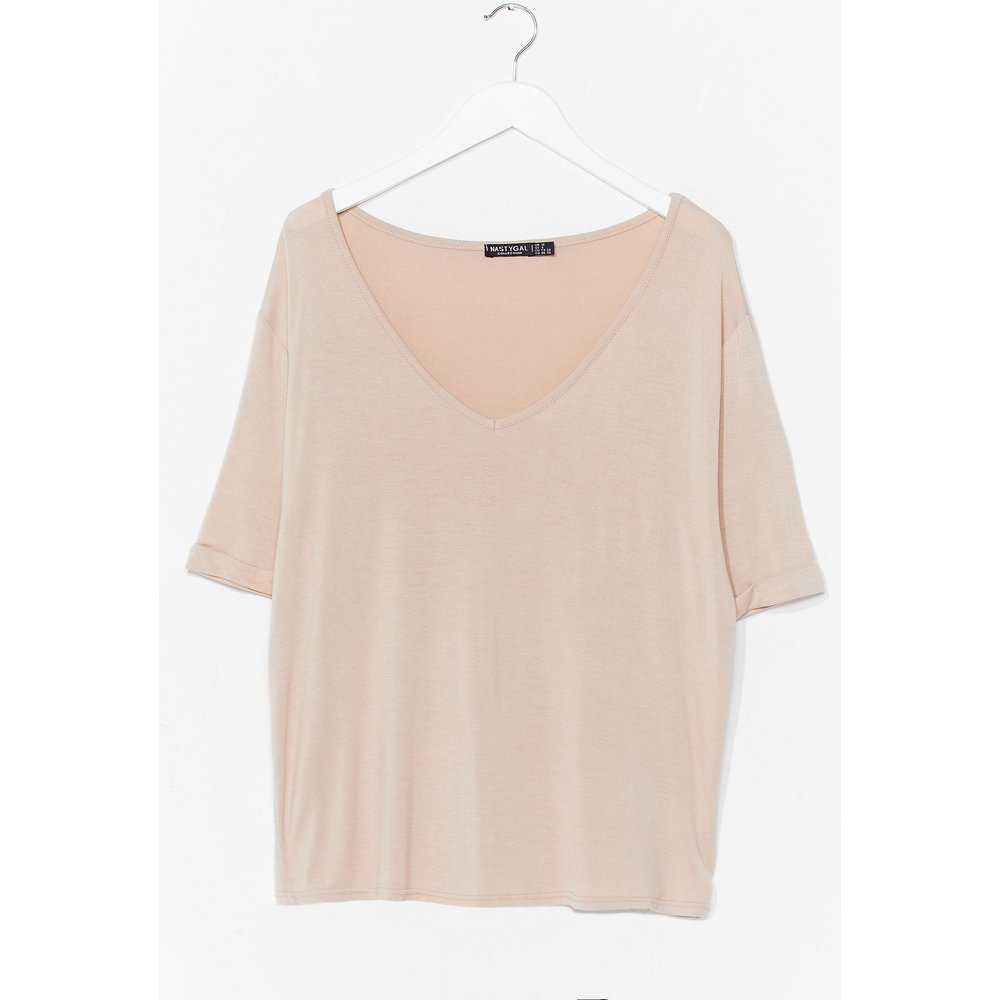 Womens T-Shirt Basique Ample À Col V Je V Faire Simple - Nasty Gal - Modalova