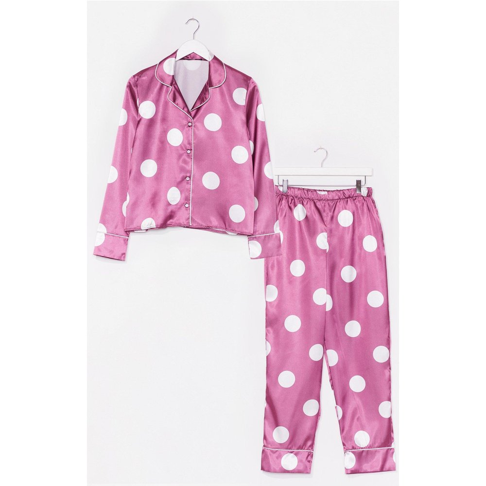 Womens Pyjama En Satin Chemise & Pantalon À Pois Des Rêves Plein La Tête - Nasty Gal - Modalova