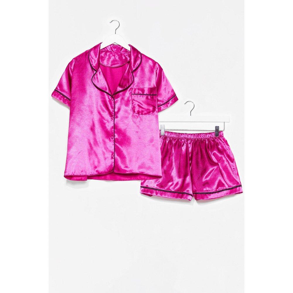 Womens Pyjama Chemise & Short En Satin J'Ai Rien Pigé Du Tout - Nasty Gal - Modalova