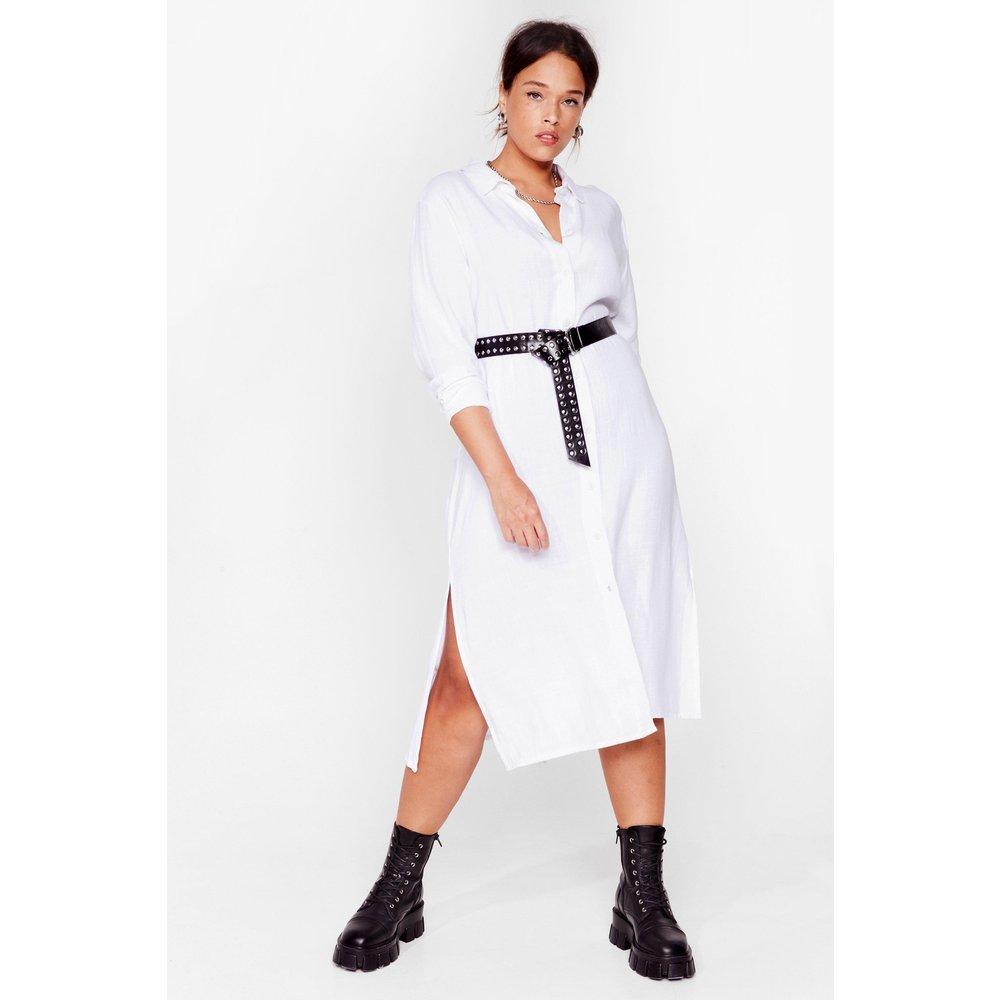 Womens Grande Taille - Dressing Gown Chemise En Lin À Boutons J'Avais Tout Misé Sur Toi - Nasty Gal - Modalova