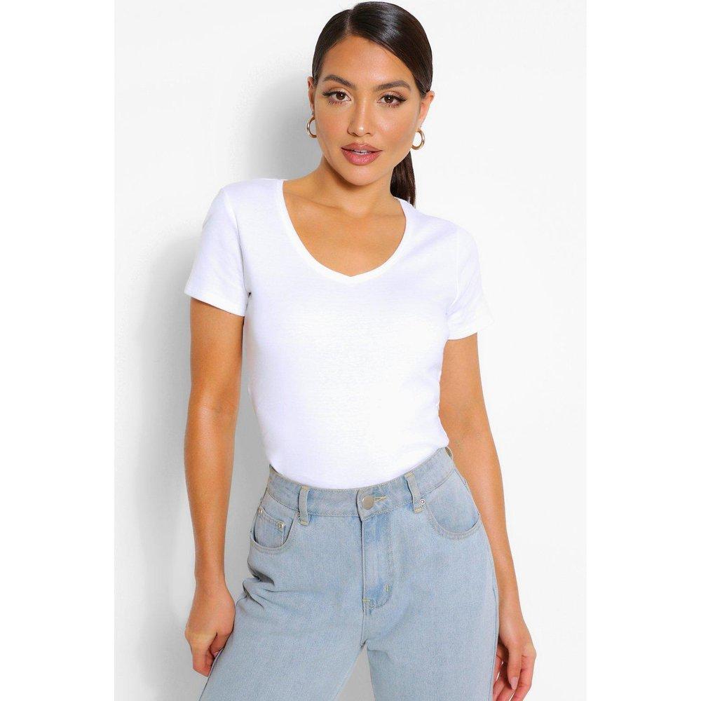 T-Shirt Basique En Coton Col En V - boohoo - Modalova