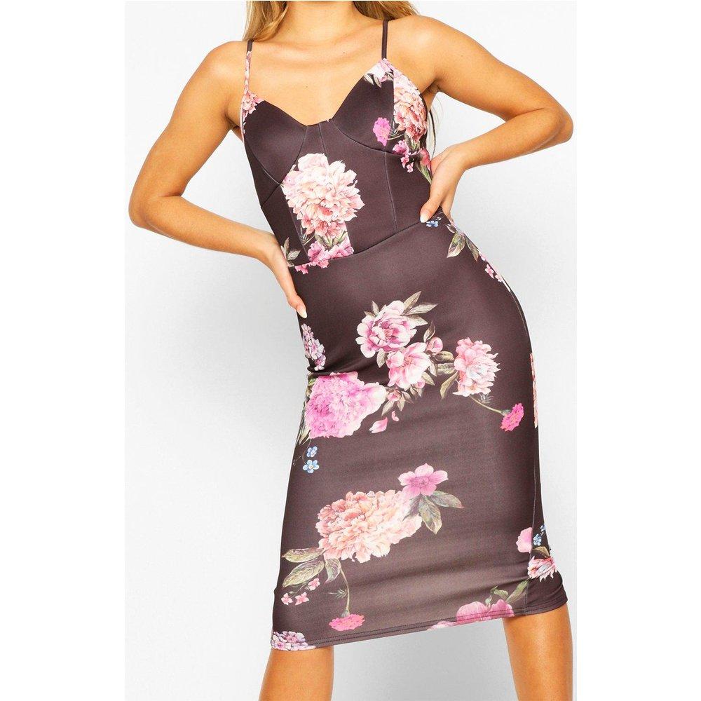 Robe Moulante Mi-Longue Corset Imprimé Floral - boohoo - Modalova