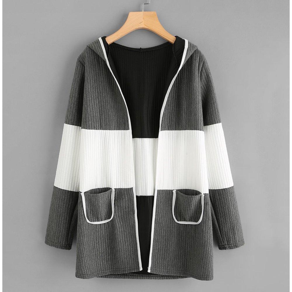 Manteau bicolore rayé - SHEIN - Modalova
