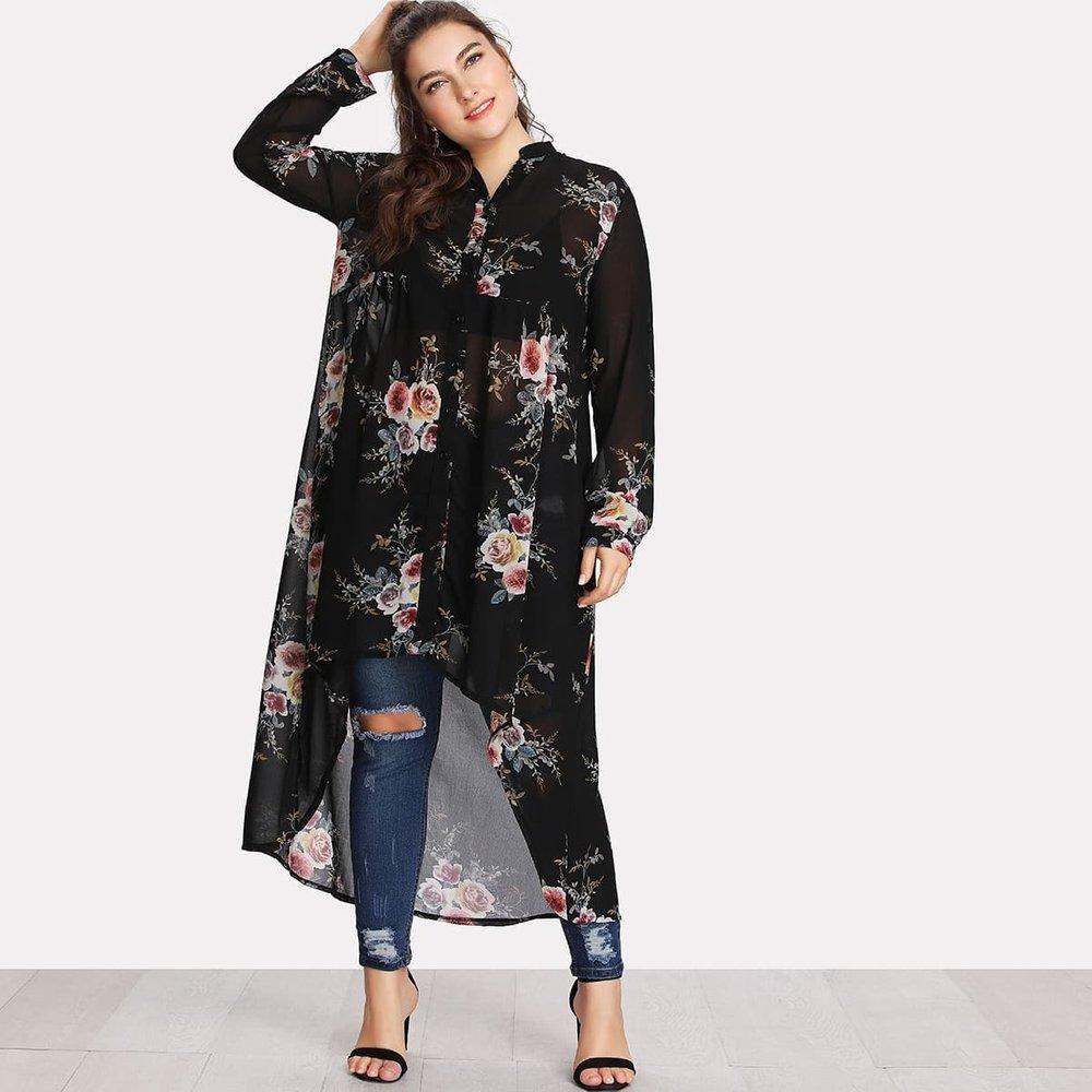 Chemise tunique à fleurs - SHEIN - Modalova