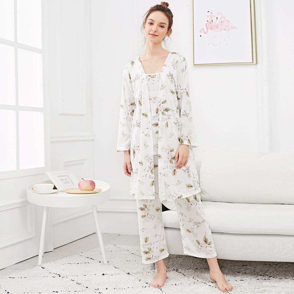 Ensemble de pyjama caraco imprimé feuille & Robe de chambre - SHEIN - Modalova