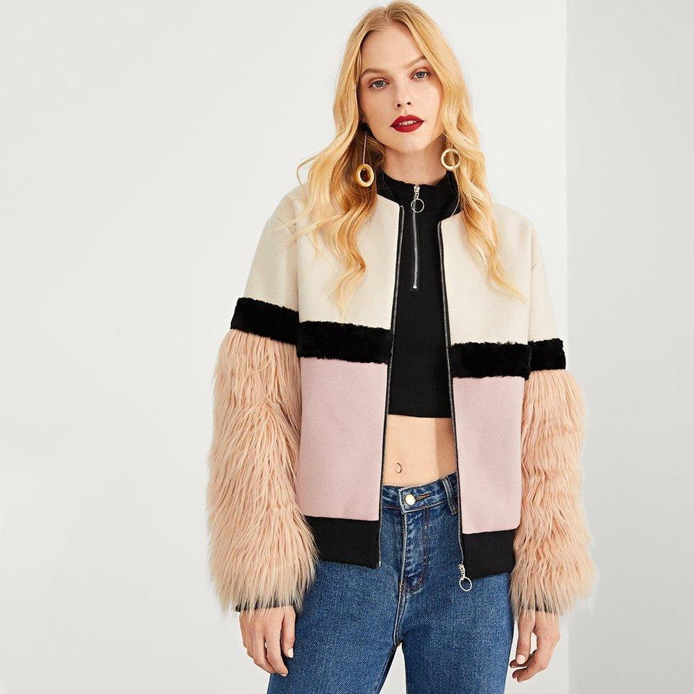 Manteau zippé à carreaux à col cannelé à manche en fausse fourrure - SHEIN - Modalova
