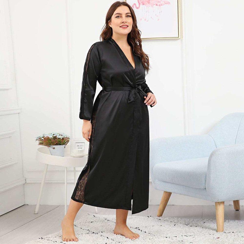 Robe de chambre satinée - SHEIN - Modalova
