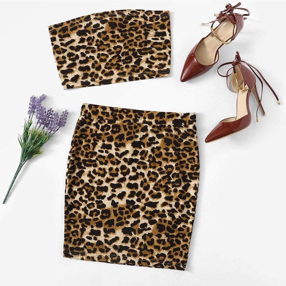 Bandeau avec imprimé léopard & Jupe - SHEIN - Modalova