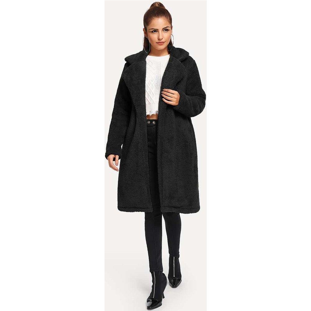 Manteau en tissu duveteux long unicolore - SHEIN - Modalova