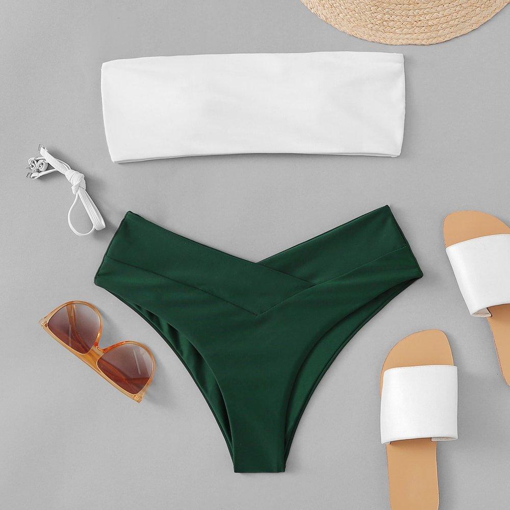 Ensemble de bikini échancré bicolore - SHEIN - Modalova