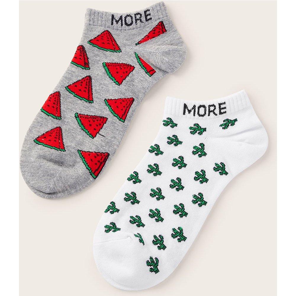 Chaussettes invisibles avec motif pastèque 2 paires - SHEIN - Modalova