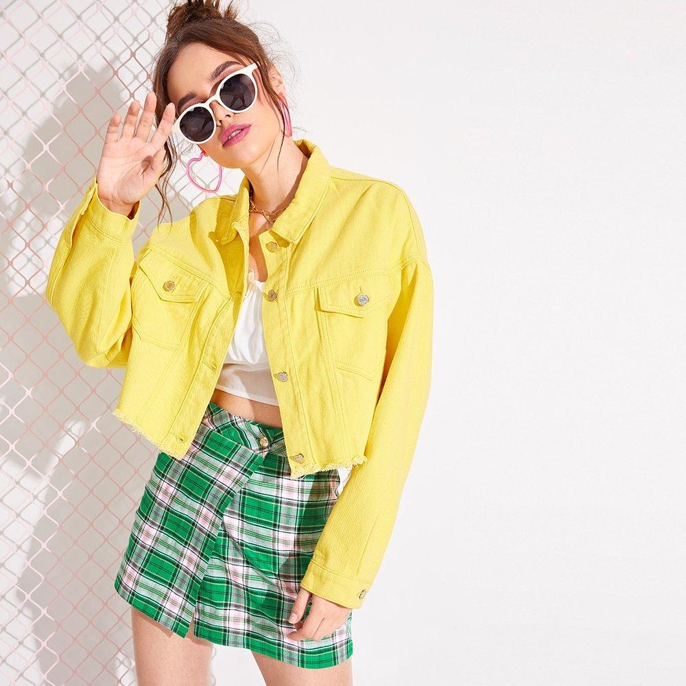Veste court en jean déchirée avec poches - SHEIN - Modalova