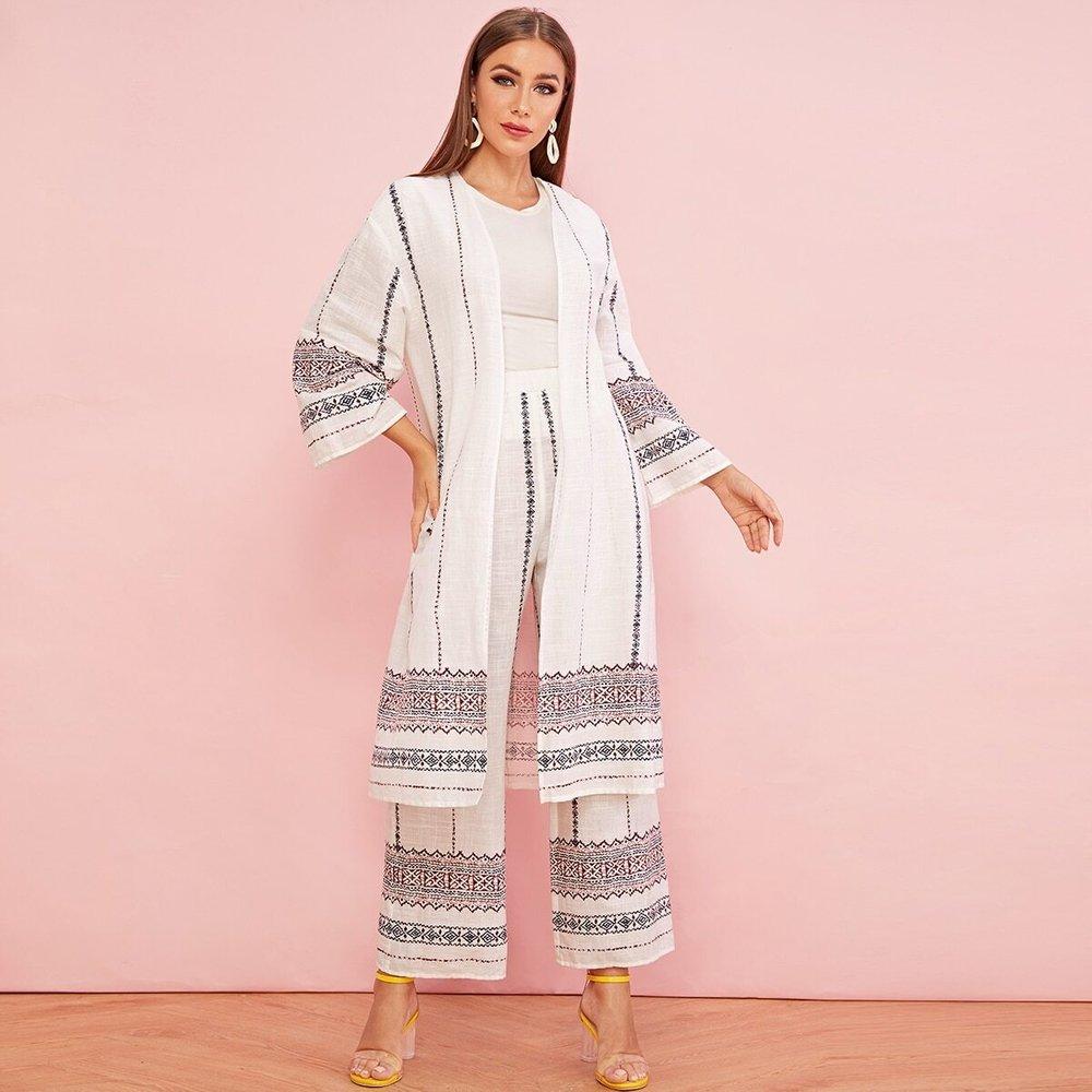 Ensemble gilet long et pantalon à imprimé tribal - SHEIN - Modalova