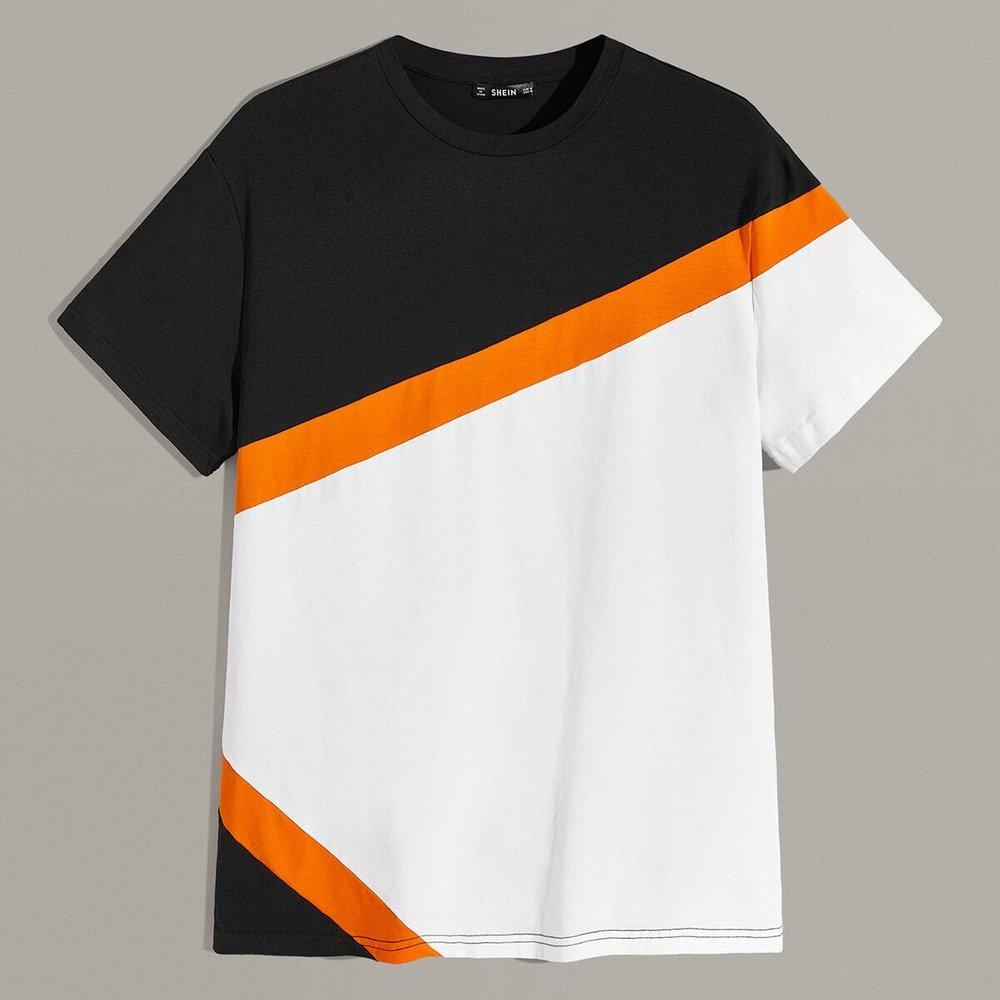 T-shirt avec blocs de couleurs - SHEIN - Modalova