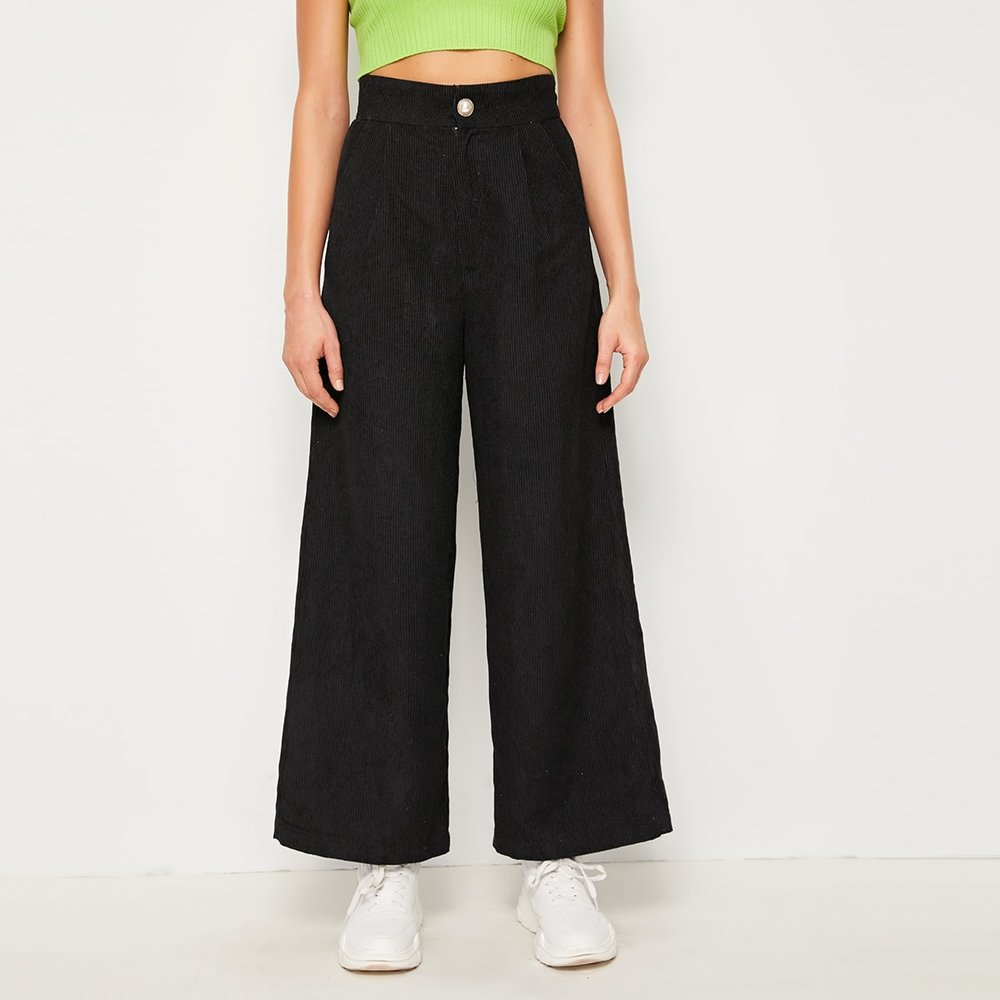 Pantalon ample en velours côtelé avec poche - SHEIN - Modalova