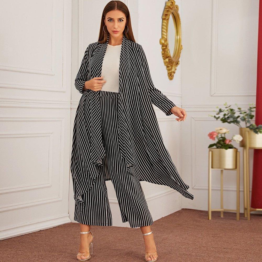 Ensemble manteau long et pantalon à rayures - SHEIN - Modalova