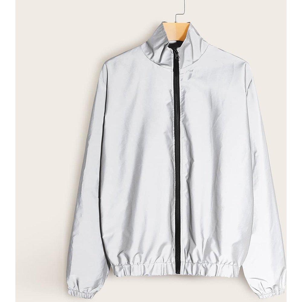 Veste coupe-vent réfléchissante avec zip - SHEIN - Modalova