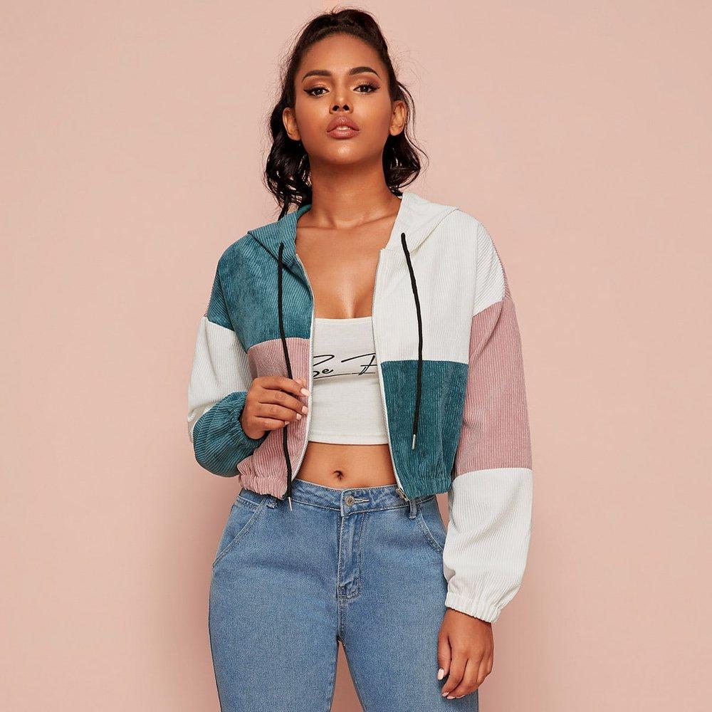 Veste à capuche zippée avec blocs de couleurs - SHEIN - Modalova