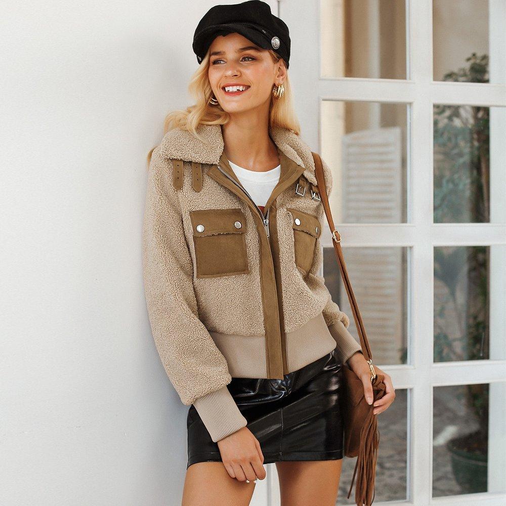 Simplee Veste duveteuse zippée avec poches - SHEIN - Modalova