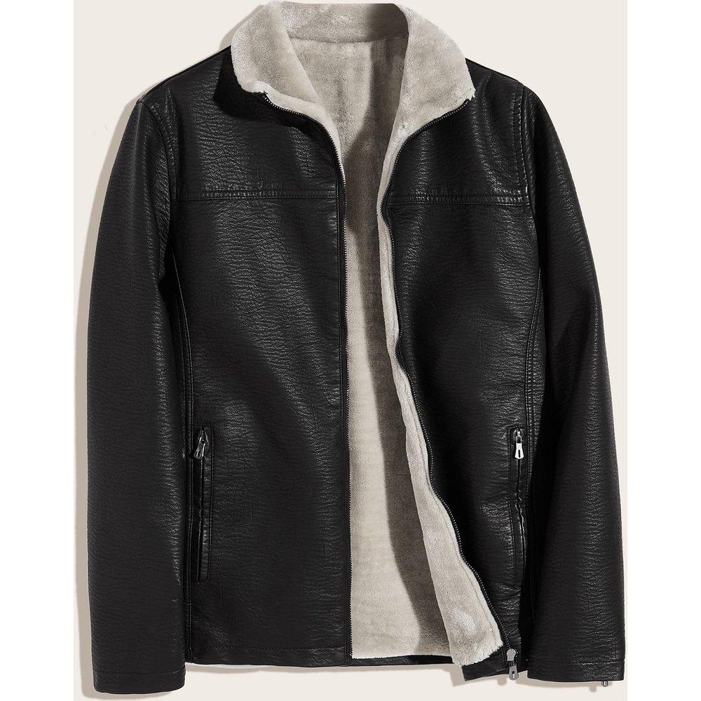 Veste en cuir PU avec doublure en imitation de monton - SHEIN - Modalova