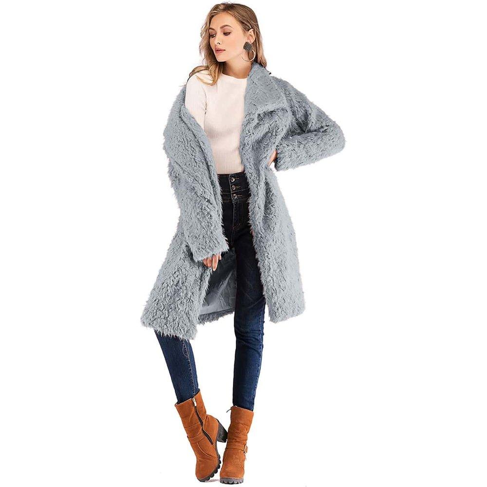 Manteau col cascade en tissu duveteux - SHEIN - Modalova