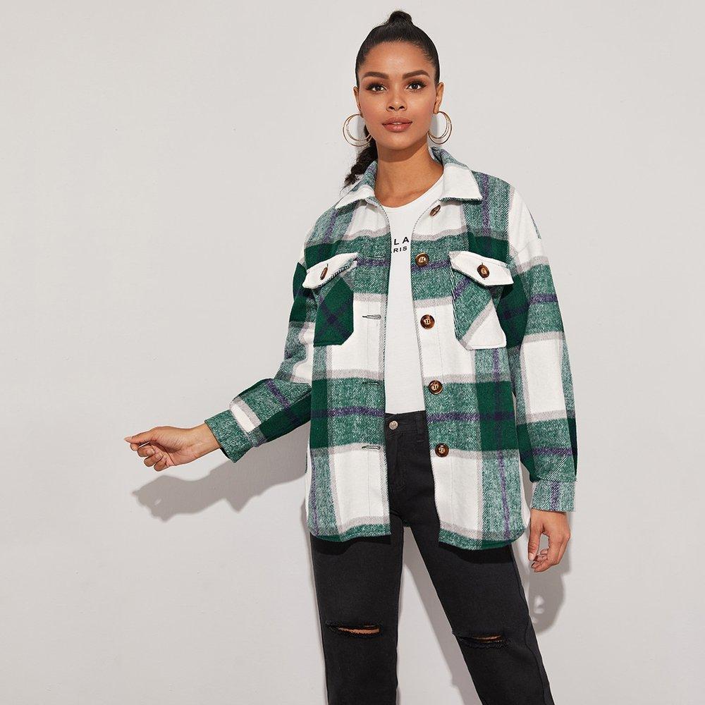 Manteau à carreaux avec boutons - SHEIN - Modalova
