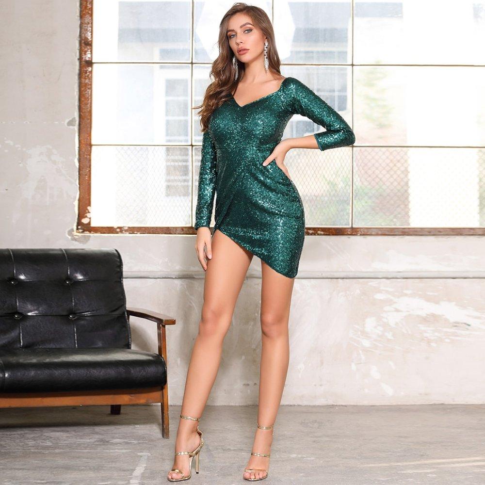 DKRX Robe portefeuille asymétrique à sequins - SHEIN - Modalova