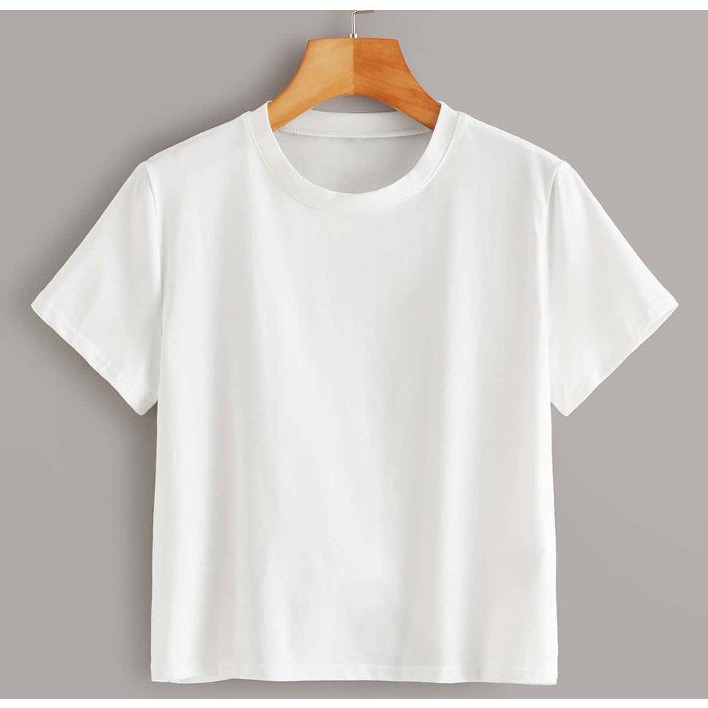 T-shirt col rond manche courte  - SHEIN - Modalova