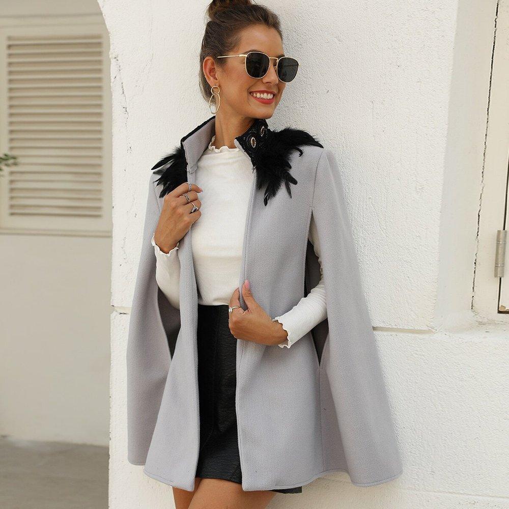 Manteau cape en tweed avec plume - SHEIN - Modalova