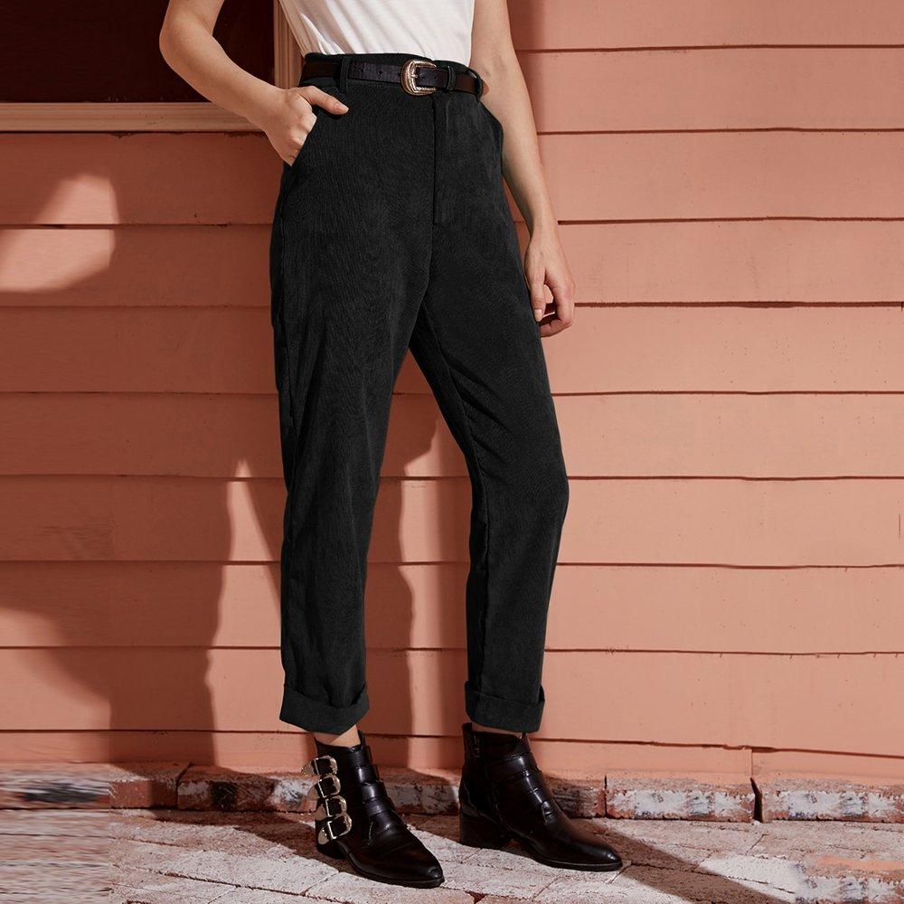 Pantalon en velours côtelé droit avec poches - SHEIN - Modalova