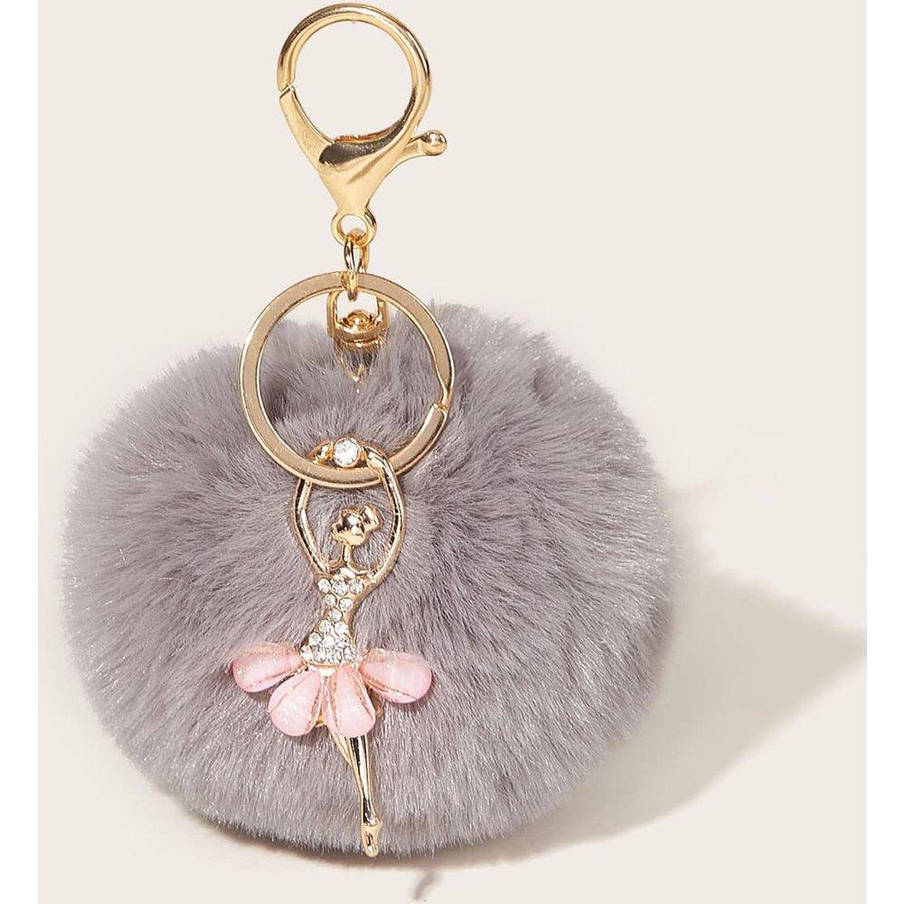 Porte-clés avec pompon en fourrure synthétique - SHEIN - Modalova