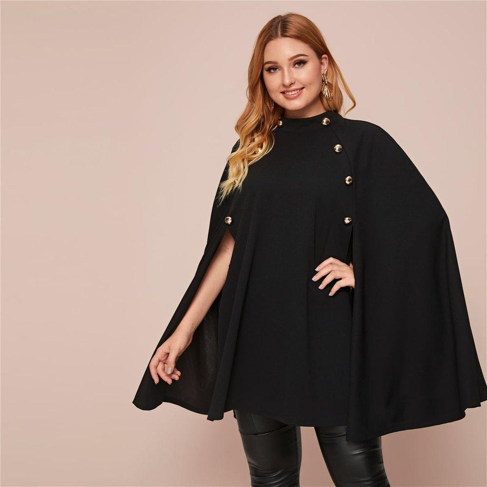 Manteau cape avec col montant et boutons - SHEIN - Modalova