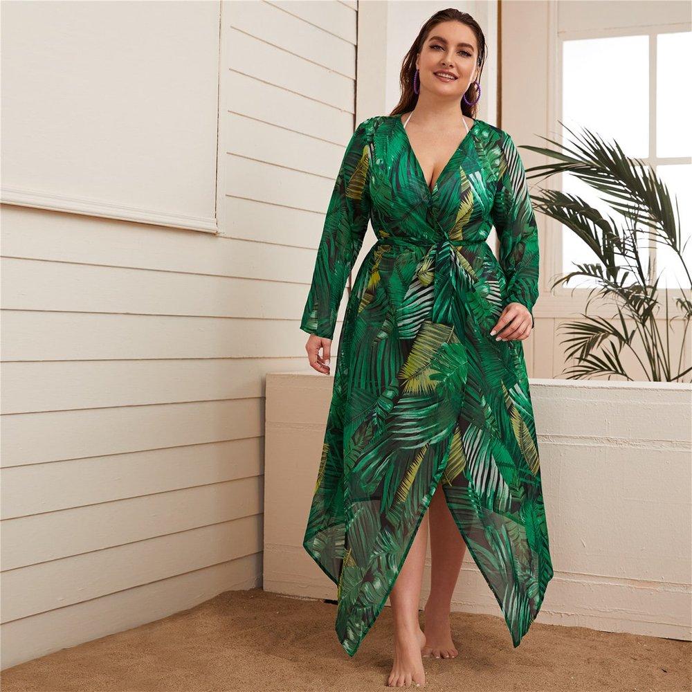Kimono avec imprimé et ceinture - SHEIN - Modalova
