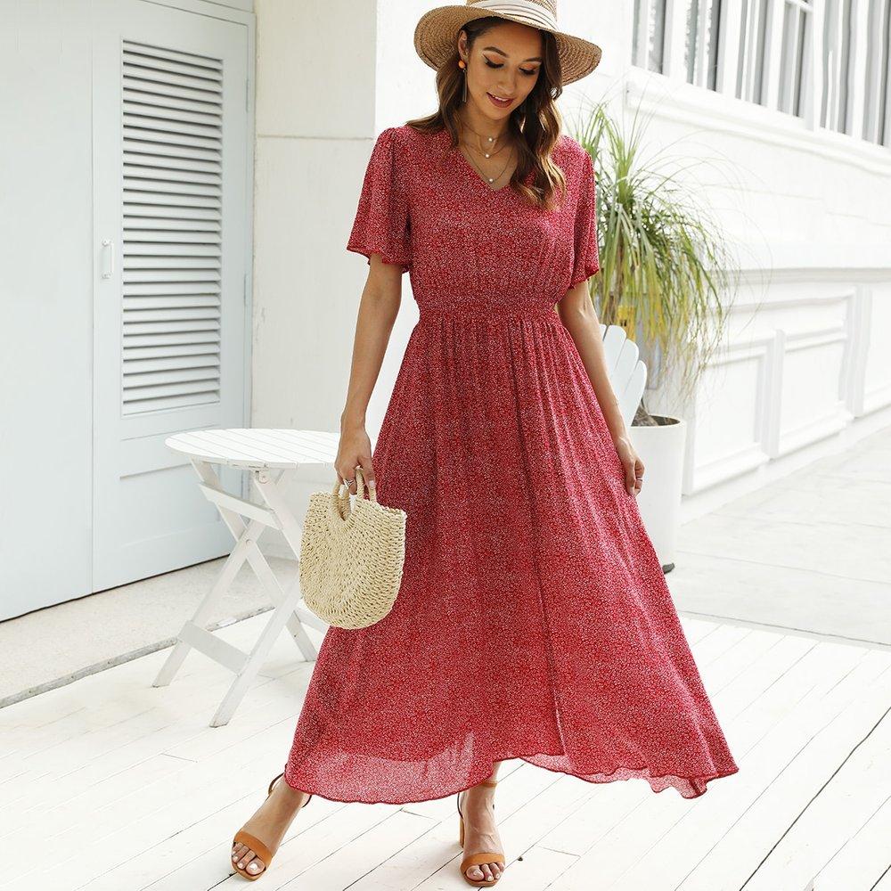 Robe trapèze fendue avec imprimé - SHEIN - Modalova