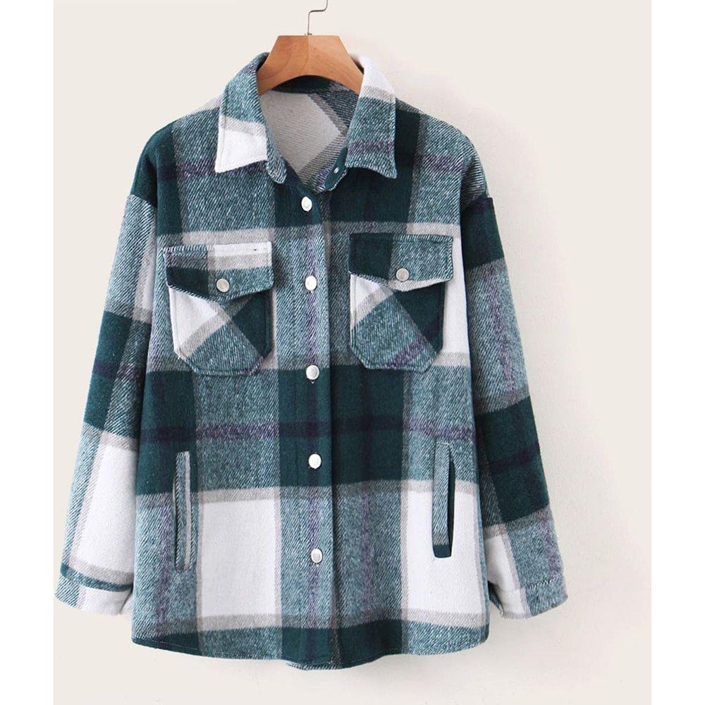 Manteau à carreaux avec rangée de boutons - SHEIN - Modalova