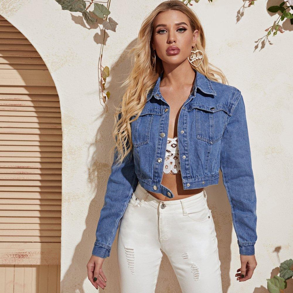 Veste en jean courte unicolore avec boutons - SHEIN - Modalova