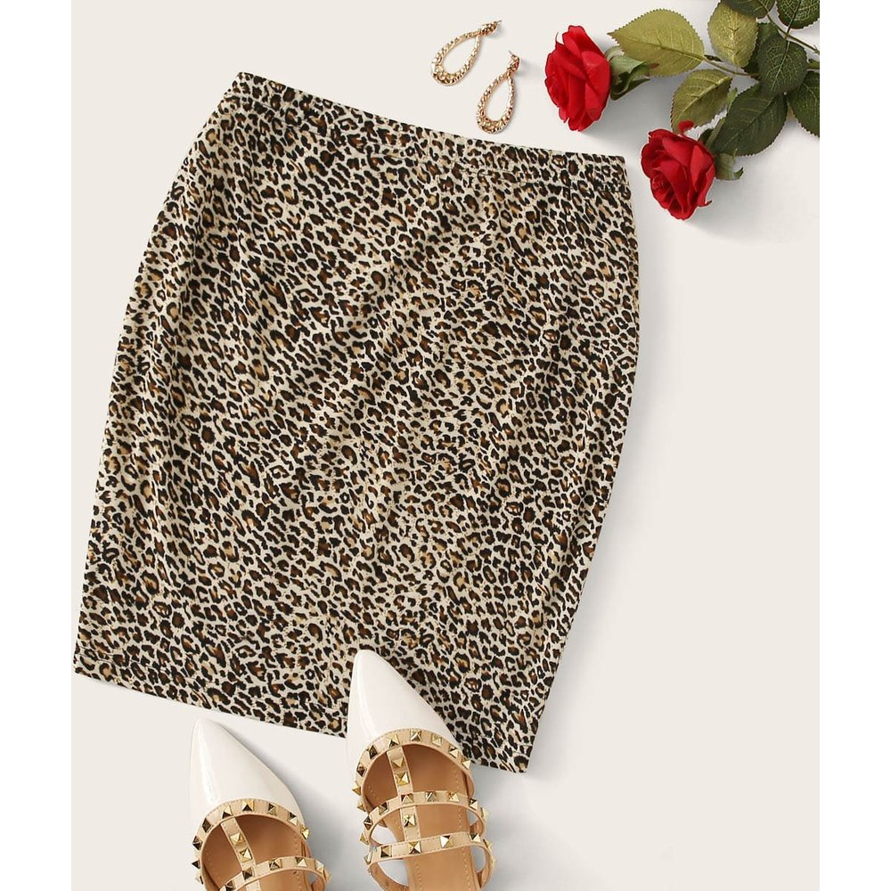 Jupe courte moulante léopard - SHEIN - Modalova