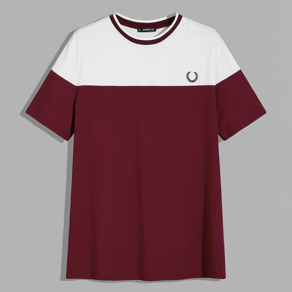 T-shirt bicolore avec broderie - SHEIN - Modalova