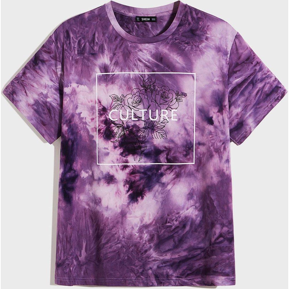 T-shirt tie dye à imprimé floral et lettres - SHEIN - Modalova