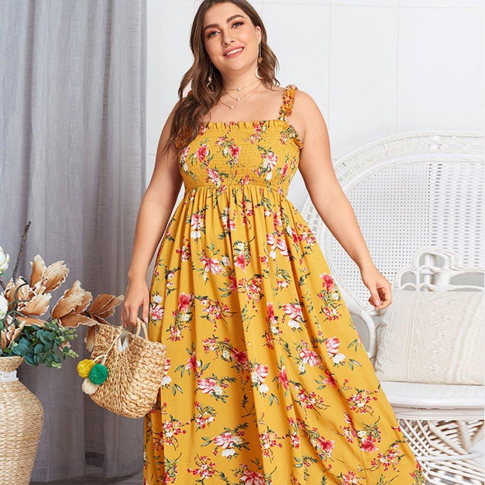 Robe trapèze avec imprimé fleuri - SHEIN - Modalova