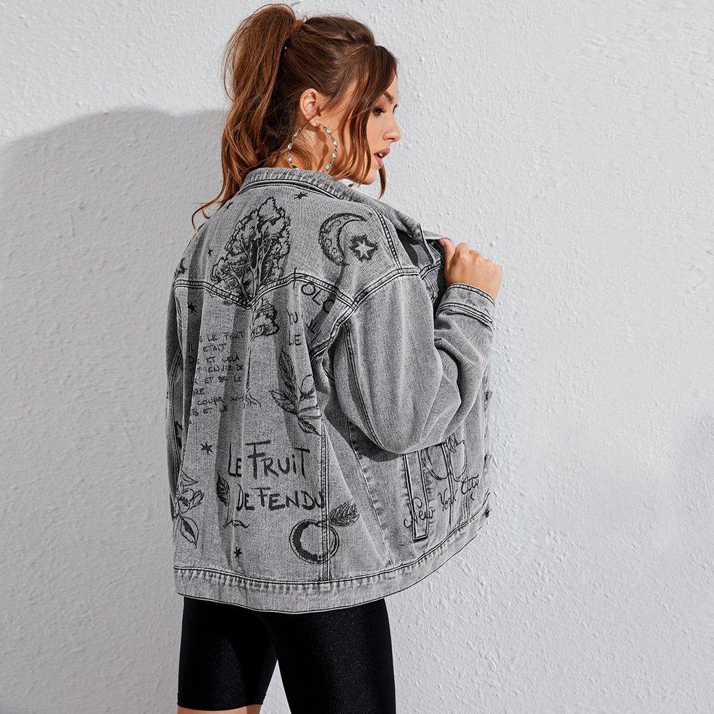 Veste en jean à lettres - SHEIN - Modalova