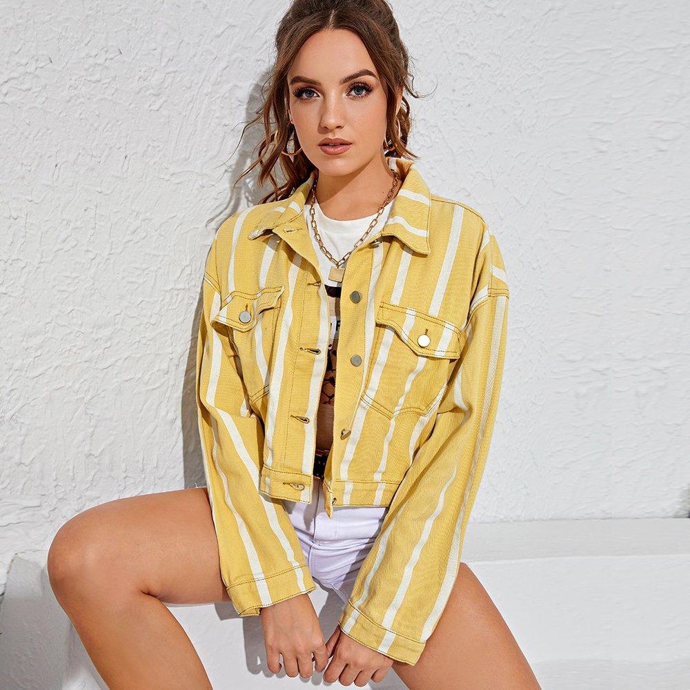 Veste en jean rayée - SHEIN - Modalova