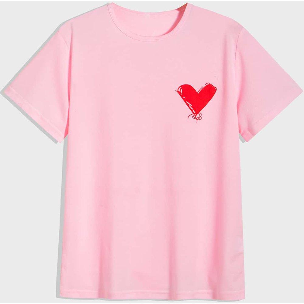 T-shirt avec imprimé cœur - SHEIN - Modalova