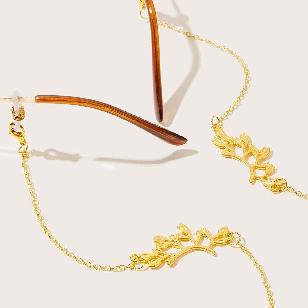 Chaîne de lunettes avec détail de plante en métal - SHEIN - Modalova